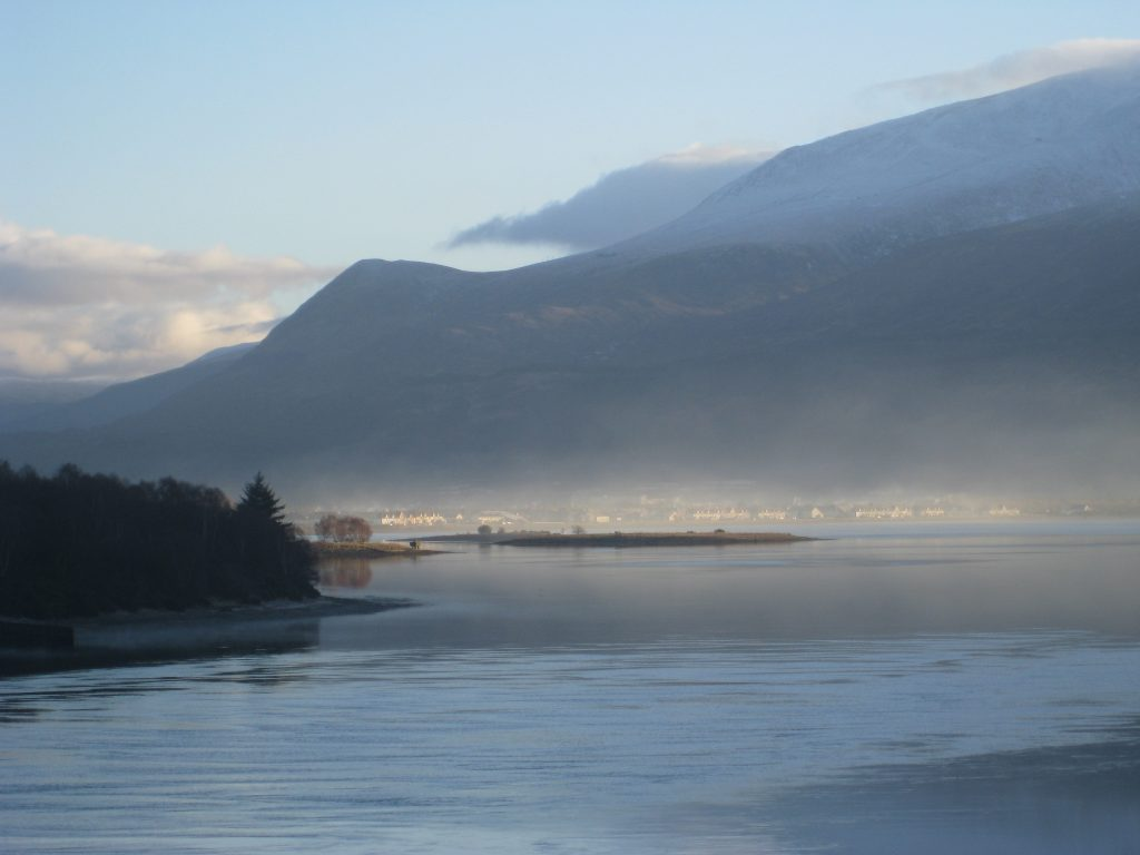 View over Loch Eil to Fort William and Ben Nevis