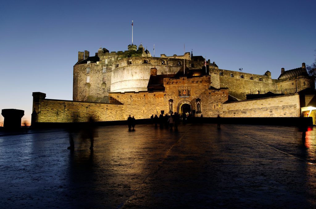 Long exposure image of Edinburgh Castle in the evening.